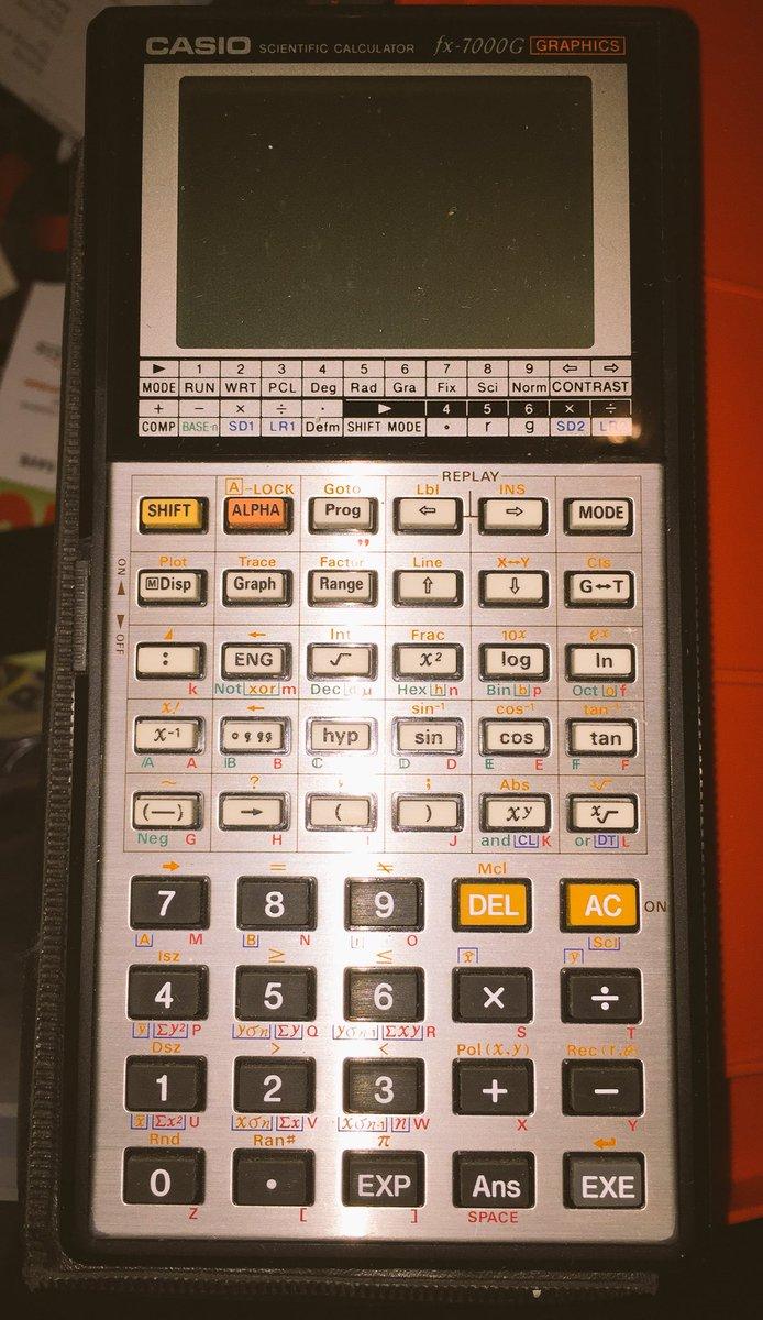 tweet: Old skool Casio fx-7000G graphing calculator from…